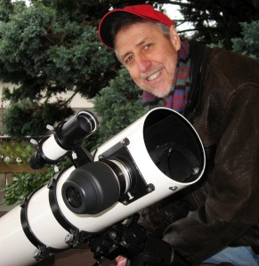 Ken and his little Newtonian reflector telescope. Courtesy Lynda Sawula